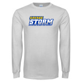 White Long Sleeve T Shirt-Savage Storm Word Mark