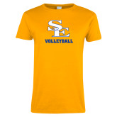 Ladies Gold T Shirt-SE Volleyball