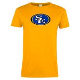 Ladies Gold T Shirt-SE Primary Logo