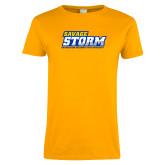 Ladies Gold T Shirt-Savage Storm Word Mark