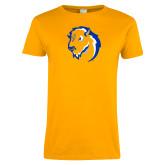 Ladies Gold T Shirt-Mascot Head