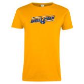 Ladies Gold T Shirt-Slanted Savage Storm Lines