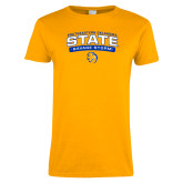 Ladies Gold T Shirt-Southeastern Oklahoma State Arched Stacked