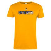 Ladies Gold T Shirt-Southeastern Savage Storm Flat