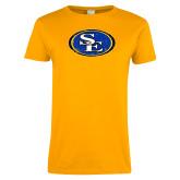 Ladies Gold T Shirt-SE Primary Logo Distressed