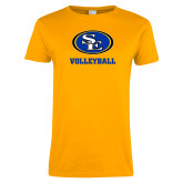 Ladies Gold T Shirt-Volleyball