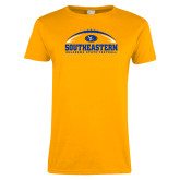 Ladies Gold T Shirt-Southeastern Football with Ball