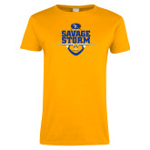 Ladies Gold T Shirt-Savage Storm Football Stacked