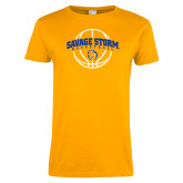 Ladies Gold T Shirt-Savage Storm Basketball Arched