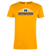 Ladies Gold T Shirt-Southeastern Basketball with Ball