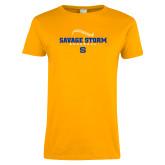 Ladies Gold T Shirt-Savage Storm Baseball Seams