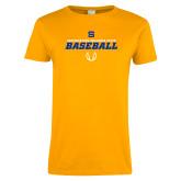 Ladies Gold T Shirt-Savage Storm Baseball Icon