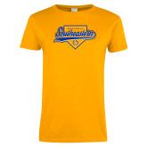 Ladies Gold T Shirt-Southeastern Softball Script