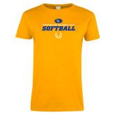 Ladies Gold T Shirt-Savage Storm Softball Icon