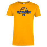 Ladies Gold T Shirt-Southeastern Volleyball with Ball