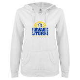 ENZA Ladies White V Notch Raw Edge Fleece Hoodie-Savage Storm Volleyball Stacked