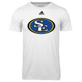 Adidas Climalite White Ultimate Performance Tee-SE Primary Logo