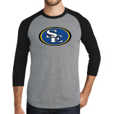 Grey/Black Tri Blend Baseball Raglan-SE Primary Logo