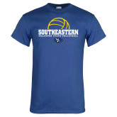 Royal T Shirt-Southeastern Volleyball with Ball