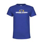 Youth Royal T Shirt-Savage Storm Football Flat with Ball