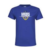 Youth Royal T Shirt-Savage Storm Football Stacked