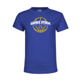 Youth Royal T Shirt-Savage Storm Basketball Arched