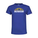 Youth Royal T Shirt-Southeastern Basketball with Ball