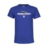 Youth Royal T Shirt-Savage Storm Baseball Seams