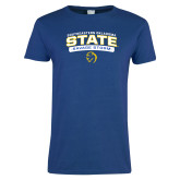 Ladies Royal T Shirt-Southeastern Oklahoma State Arched Stacked