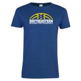 Ladies Royal T Shirt-Southeastern Basketball with Ball