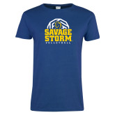 Ladies Royal T Shirt-Savage Storm Volleyball Stacked