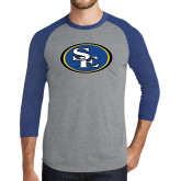Grey/Royal Heather Tri Blend Baseball Raglan-SE Primary Logo