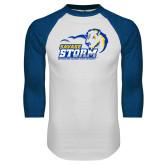White/Royal Raglan Baseball T Shirt-New Primary Logo