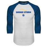 White/Royal Raglan Baseball T Shirt-Savage Storm Baseball Seams