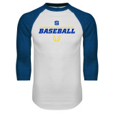 White/Royal Raglan Baseball T Shirt-Savage Storm Baseball Icon