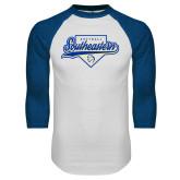 White/Royal Raglan Baseball T Shirt-Southeastern Softball Script
