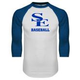 White/Royal Raglan Baseball T Shirt-SE Baseball