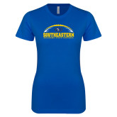 Next Level Ladies SoftStyle Junior Fitted Royal Tee-Southeastern Football with Ball