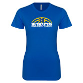 Next Level Ladies SoftStyle Junior Fitted Royal Tee-Southeastern Basketball with Ball