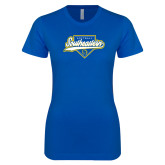 Next Level Ladies SoftStyle Junior Fitted Royal Tee-Southeastern Softball Script