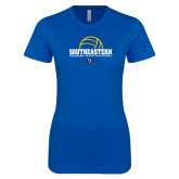 Next Level Ladies SoftStyle Junior Fitted Royal Tee-Southeastern Volleyball with Ball