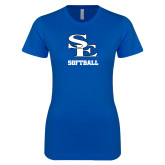 Next Level Ladies SoftStyle Junior Fitted Royal Tee-SE Softball