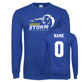 Royal Long Sleeve T Shirt-New Primary Logo, Custom Tee w/ Name and #