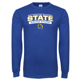 Royal Long Sleeve T Shirt-Southeastern Oklahoma State Arched Stacked