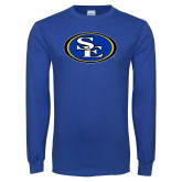 Royal Long Sleeve T Shirt-SE Primary Logo Distressed