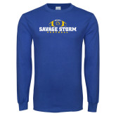 Royal Long Sleeve T Shirt-Savage Storm Football Flat with Ball
