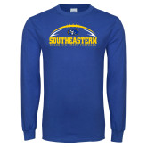 Royal Long Sleeve T Shirt-Southeastern Football with Ball