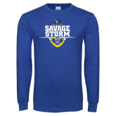 Royal Long Sleeve T Shirt-Savage Storm Football Stacked