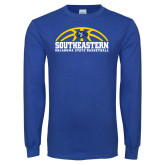 Royal Long Sleeve T Shirt-Southeastern Basketball with Ball
