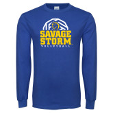 Royal Long Sleeve T Shirt-Savage Storm Volleyball Stacked
